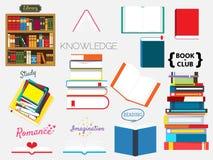 Uppsättning av böcker, bokbunt royaltyfri illustrationer