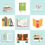 Uppsättning av böcker i plan design vektor illustrationer
