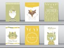 Uppsättning av baby showerinbjudankort vektor illustrationer