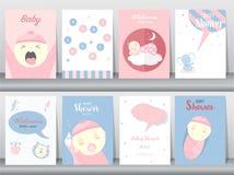 Uppsättning av baby showerinbjudankort, affisch, hälsning, mall, djur som är gulliga, vektorillustrationer royaltyfri illustrationer