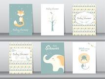 Uppsättning av baby showerinbjudankort, affisch, mall, hälsningkort, djur, vektorillustrationer Arkivfoto