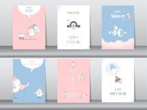 Uppsättning av baby showerinbjudankort, födelsedag, affisch, mall, hälsning, djur som är gulliga, fåglar, vektorillustrationer Arkivfoton