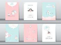 Uppsättning av baby showerinbjudankort, födelsedagkort, affisch, mall, hälsningkort, djur som är gulliga, fåglar, vektorillustrat Royaltyfria Bilder