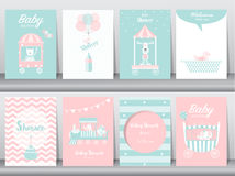Uppsättning av baby showerinbjudankort, födelsedagkort, affisch, mall, hälsningkort som är gulliga, björn, drev, bil, djur, vekto Royaltyfri Bild