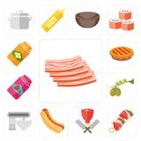 Uppsättning av bacon, kebab, slaktare, varmkorv, blandare, oliv, driftstopp, paj, vektor illustrationer