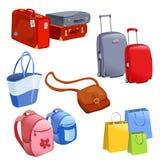 Uppsättning av bagage, resväskor, ryggsäckar, packar Royaltyfria Bilder