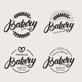 Uppsättning av bageri- och brödlogoen Arkivfoto