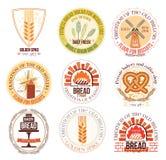 Uppsättning av bageri- och vetelogoen, etiketter och designbeståndsdelar Arkivbild