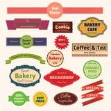 Uppsättning av bagerietiketter, band och kort för din design vektor illustrationer
