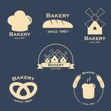 Uppsättning av bagerilogoer Arkivbild