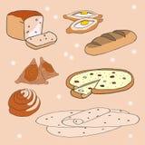 Uppsättning av Bakeryproducts stock illustrationer