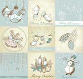 Uppsättning av bakgrunder för glad jul Arkivbilder