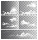 Uppsättning av bakgrunder med genomskinliga olika moln Arkivfoto