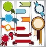 Uppsättning av band och etiketter. Vektorillustration. Arkivbild