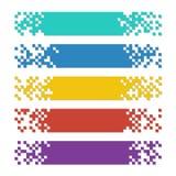 Uppsättning av baner för rengöringsduk för färgabstrakt begreppPIXEL med skuggor för titelrader royaltyfri illustrationer