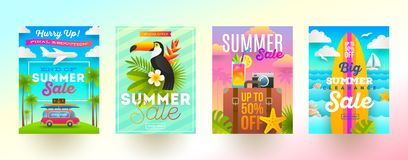 Uppsättning av baner för sommarförsäljningsbefordran Semester, ferier och färgrik ljus bakgrund för lopp Affisch- eller informati stock illustrationer
