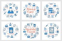Uppsättning av baner för tand- vård- begrepp vektor illustrationer