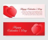 Uppsättning av baner för valentin dag med hjärtor Arkivfoton