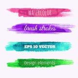 Uppsättning av baner för vattenfärgmålarfärgtextur royaltyfri illustrationer