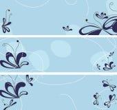 Uppsättning av baner med abstrakt blommor Arkivfoton