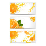 Uppsättning av baner med apelsiner Arkivfoto