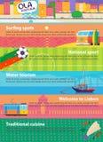 Uppsättning av baner med bilder som föreställer berömda portugissikt och symboler Arkivfoto