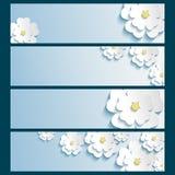 Uppsättning av baner med 3d stilfulla blommor sakura stock illustrationer