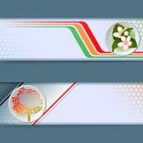 Uppsättning av baner med färgrik linjär design, bukett av blommor, generiskt träd stock illustrationer