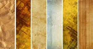 Uppsättning av baner med gammalt papper för textur Arkivbilder