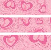 Uppsättning av baner med hjärtor Arkivbilder