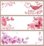 Uppsättning av baner med hjärtor och fjärilar för dag för valentin` s, Arkivbild