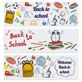 Uppsättning av baner med skolatillförsel stock illustrationer