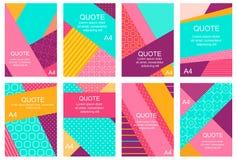 Uppsättning av baner, reklamblad, plakat med abstrakt geometrisk backgro Royaltyfri Fotografi