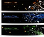 Uppsättning av banerdesignen med blom- beståndsdelar Royaltyfri Bild
