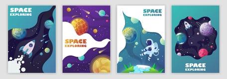 Uppsättning av banermallar Universum avstånd Utrymmetur Design vektor stock illustrationer