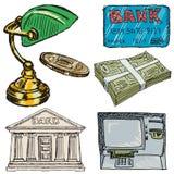 Uppsättning av bankrörelseobjekt Arkivfoto