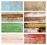 Uppsättning av banret med wood texturer av olika färger Royaltyfria Bilder