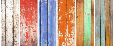 Uppsättning av banret med wood texturer av olika färger Arkivbild