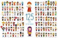 Uppsättning av 125 barn av olika nationaliteter i tecknad filmstil royaltyfri illustrationer