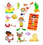 Uppsättning av barn på stranden stock illustrationer