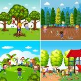 Uppsättning av barn som spelar platser vektor illustrationer