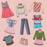 Uppsättning av barns kläder, vektordesignbeståndsdelar Royaltyfri Foto