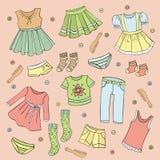 Uppsättning av barns kläder, vektordesignbeståndsdelar Arkivbild