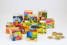 Uppsättning av barns kuber Arkivbilder