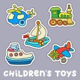 Uppsättning av barns leksaker stock illustrationer