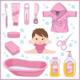 Uppsättning av barns saker för att bada stock illustrationer