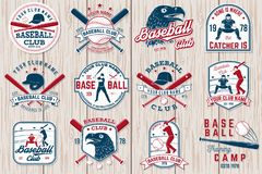 Uppsättning av baseball- eller softballklubbaemblemet också vektor för coreldrawillustration Begrepp för skjorta eller logo, stock illustrationer