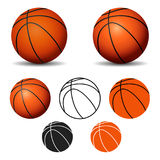 Uppsättning av basketbollar som isoleras på en vit bakgrund Royaltyfri Fotografi