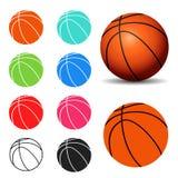 Uppsättning av basketbollar som isoleras på en vit bakgrund Royaltyfria Bilder