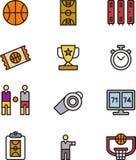 Uppsättning av basketsymboler eller symboler Royaltyfri Fotografi